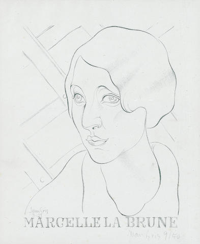 Juan Gris, Marcelle la Brune, lithograph, 9/50, pencil