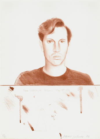 David Hockney (British, born 1937); Portrait of Peter Schlesinger 1976 lithograph;