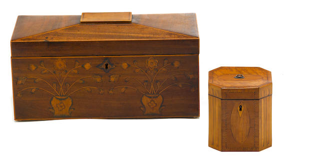 Two George III inlaid mahogany tea caddies late 18th century
