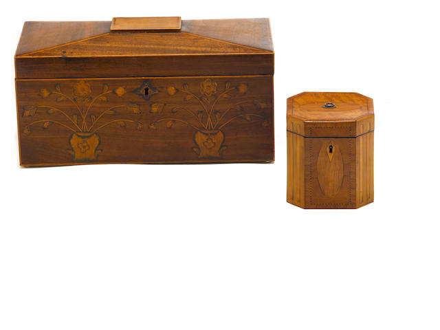 Two George III inlaid mahogany tea caddies <BR />late 18th century
