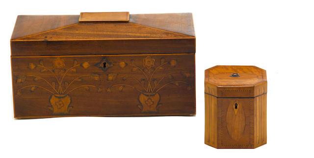 Two George III inlaid mahogany tea caddies <BR />late 18th century