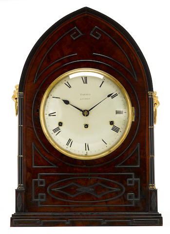 A George IV Gothic style mahogany and partial ebonized quarter chiming mantel clock Farmer, London first quarter 19th century
