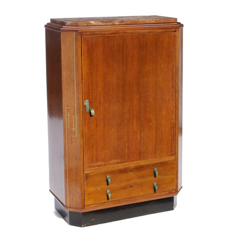 An Art Deco marble, brass and mahogany cocktail cabinet circa 1925
