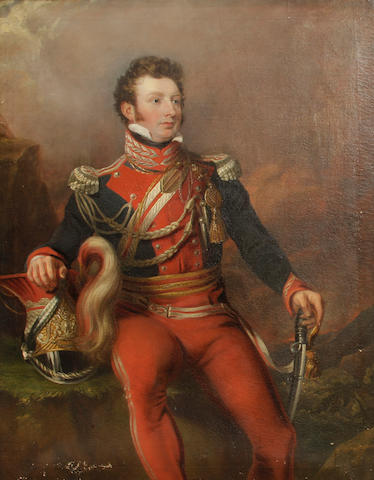 English School, 19th Century A portrait of a British officer, thought to be Captain Thomas Penrice 56 x 44in