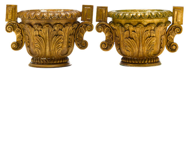 A pair of Baroque style two-handled giltwood urns <BR />Michael Taylor Design <BR /> third quarter 20th century