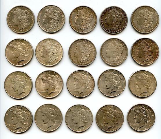 Morgan and Peace Dollars (20)