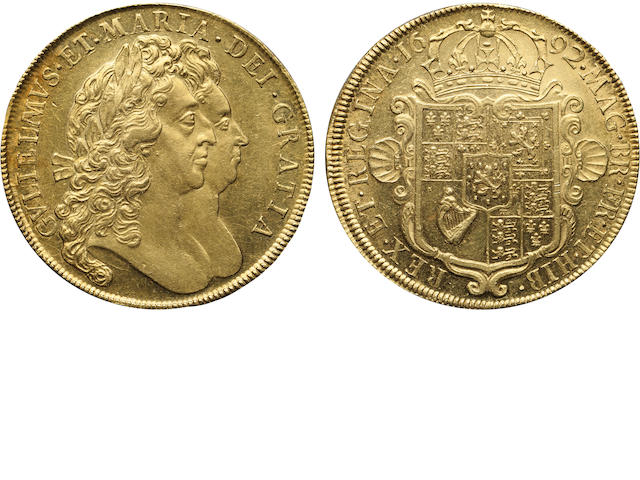 William and Mary, 1689-1694, Gold 5 Guineas, 1692
