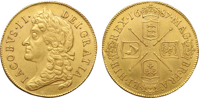 James II, 1685-1688, Gold 2 Guineas, 1687