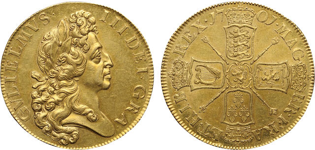 William III,  1689-1702, Gold 5 Guineas, 1701