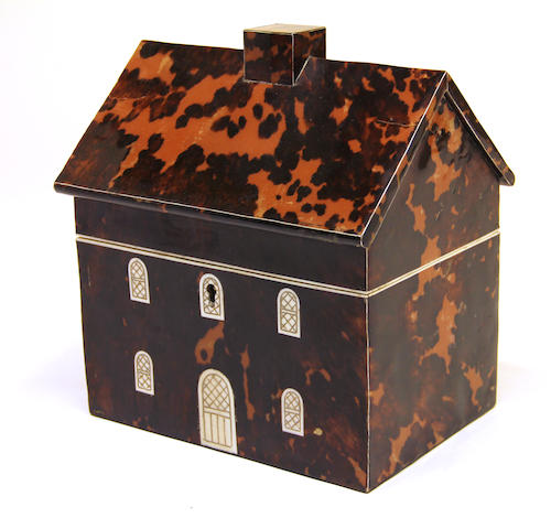 A George IV style house form tortoiseshell tea caddy 20th century