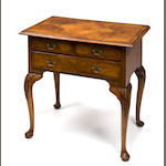 A George I burl walnut lowboy, second quarter 18th century, possibly reveneered