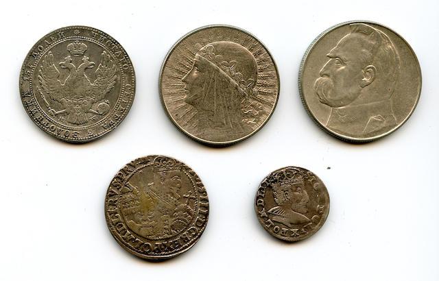 Polish coins (5) Poland, Josef Pilsudski, Silver 10 Zlotych, 1937  Poland, Queen Jadwiga, Silver 10 Zlotych, 1932  Poland, Nicholas I, 5 Zlotych-3/4 Ruble, 1839MW Poland, Sigismund III, Silver 3 Groszy, 1591  Poland, Sigismund III, Silver 1 Ort, 1623