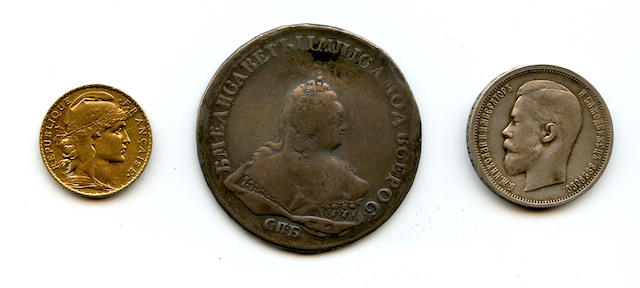 Russian coins including Russia, Nicholas II, 50 Kopecks, 1913  Russia, Elizabeth I, Rouble, 1742, together with France, 20 Francs, 1907.
