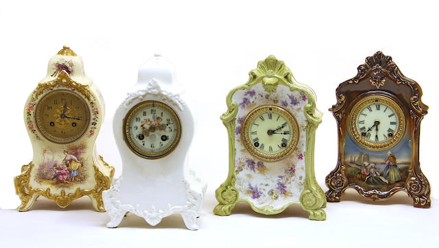 Four ceramic cased mantel clocks early 20th century