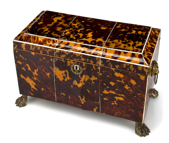 A George IV tortoiseshell and ivory large tea caddy circa 1820