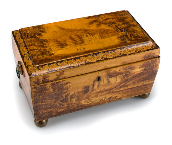 A Victorian penwork tea caddy mid-19th century