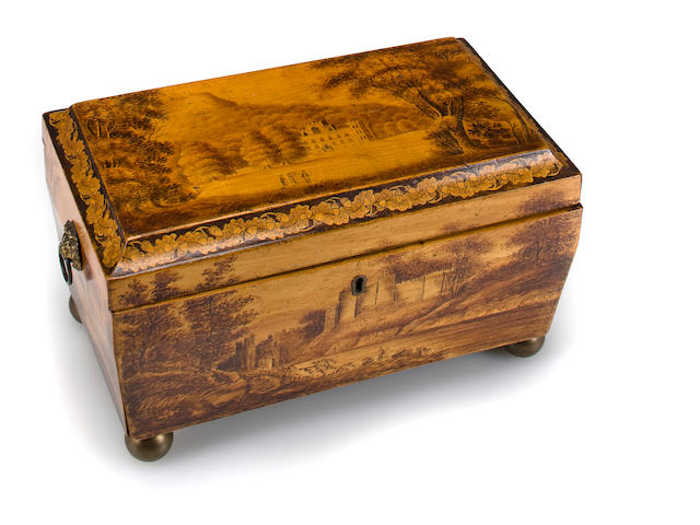 a Regency penwork tea caddy (the black lacquer box remained at the New Jersey location)