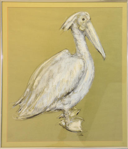 A watercolor of a dune by Gordon Grant and a drawing of a pelican