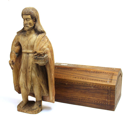 A Spanish Colonial carved wood figure of John the Baptist 19th century
