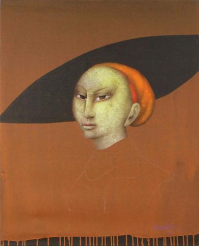 Paul Wunderlich (German, 1927-2010) Portrait of a woman, 1990 31 5/8 x 25 5/8in