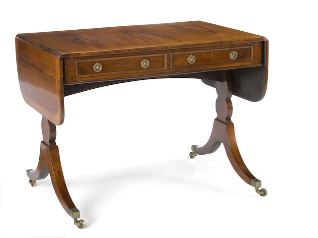 A Regency inlaid rosewood sofa table<BR /> early 19th century