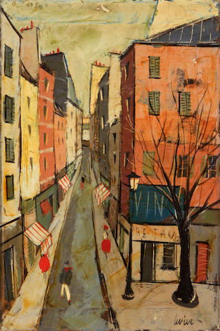 Charles Levier (French, 1920-2004) French street scene 22 x 15in