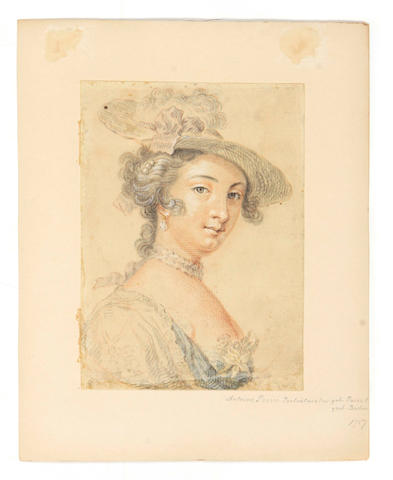 Circle of Antoine Pesne (French, 1683-1757) A portrait of an elegant lady, bust-length 6 x 4 1/2in unframed