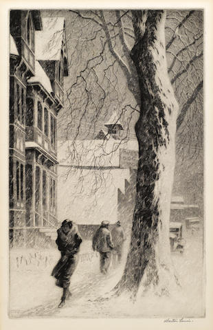 Martin Lewis (1881-1962); Winter on White Street;