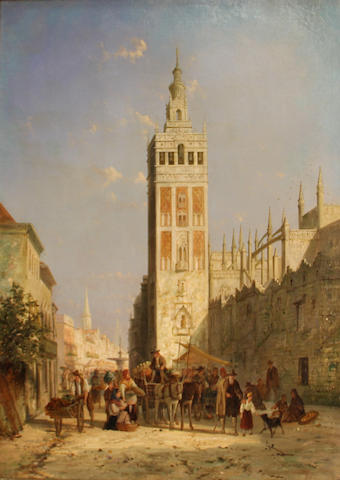 William Raymond Dommersen (Dutch, 1850-1927) Seville 36 x 28in