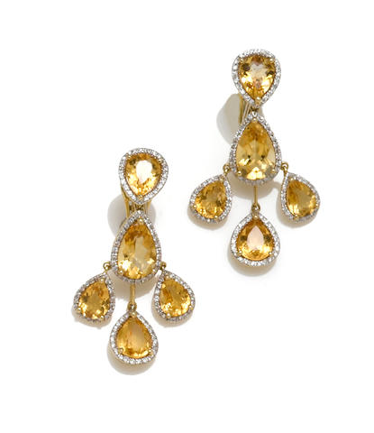 A pair of citrine and diamond chandelier earrings