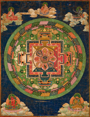 Mandala of Chakrasamvara Distemper on cloth, Bhutan, 19th century