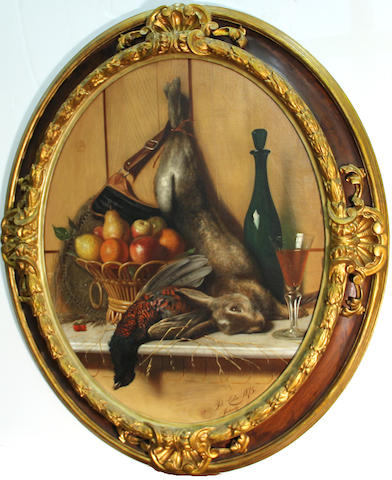 Pietro Costa (Italian, 1849-1901) A still life with fruit, game and a glass of wine resting on a ledge oval, 31 3/4 x 25in