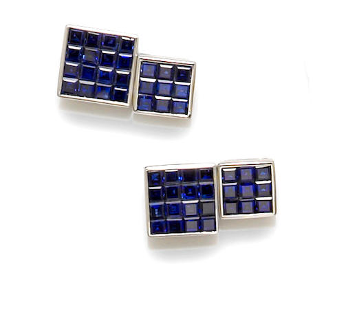 A pair of sapphire and platinum cufflinks, Sophia D.