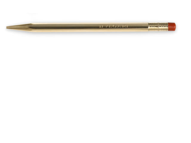 A coral and gilt-silver pen, Bulgari