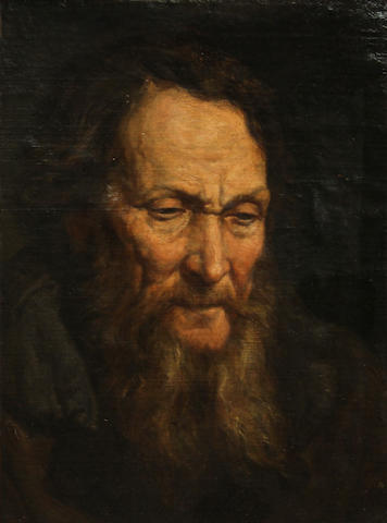 Polish School, 19th Century A portrait of an old man 18 3/4 x 14in