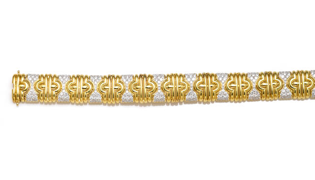 A diamond and eighteen karat bicolor gold bracelet