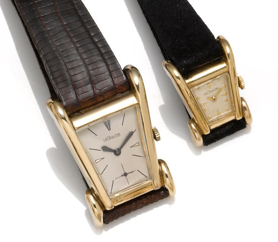 Jaeger LeCoultre. A pair of flared case wristwatches
