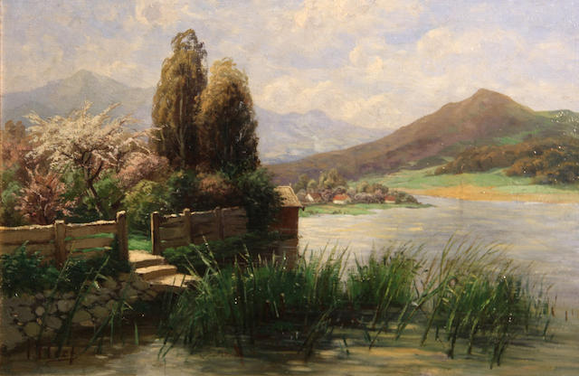 Theodor Her (German, 1838-1892) A garden at river's edge with mountains in the distance 11 1/4 x 16 3/4in