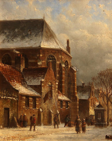 Follower of Adrianus Eversen (Dutch, 1818-1897) A Dutch street with figures passing a church 5 3/4 x 4 3/4in