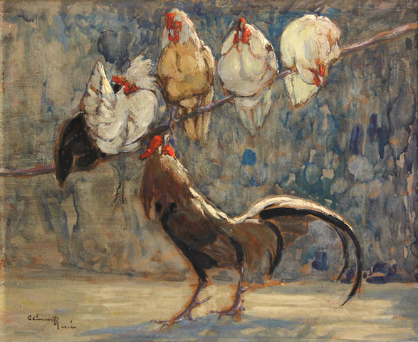 Paul-Henri Clement-Rene (French) Un perchoir (A perch); Un coin de poulailler (Corner of a barn) (2) first, 10 1/2 x 13 1/2in; second, 8 3/4 x 10 1/2in