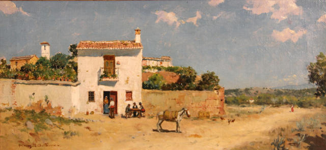 Ernesto Gutierrez Hernandez (Spanish, 1873-1934) Outside a Spanish inn 7 3/4 x 15 1/2in
