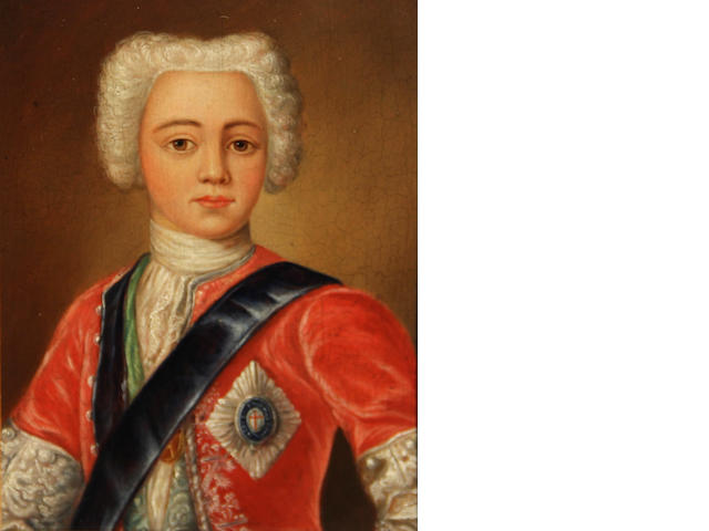 After Antonio David A portrait of Prince Charles Edward Stuart 7 1/2 x 5 3/4in
