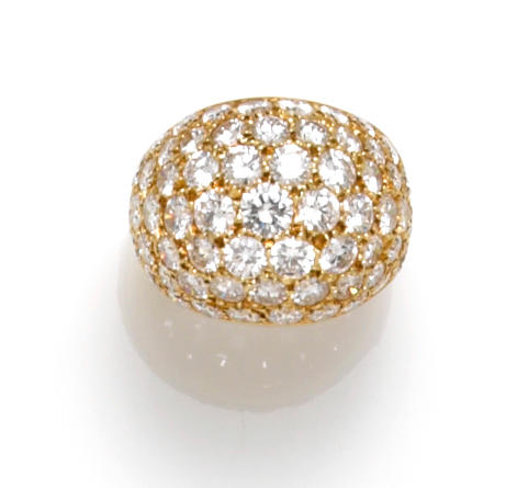 A diamond pavé-set dome ring, Van Cleef & Arpels