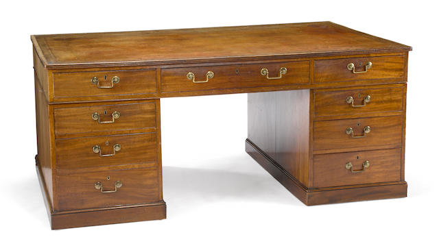A George III style mahogany partners desk <BR />third quarter 19th century
