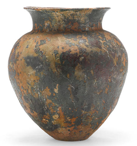 A partial glazed terracotta storage jar<BR />19th century