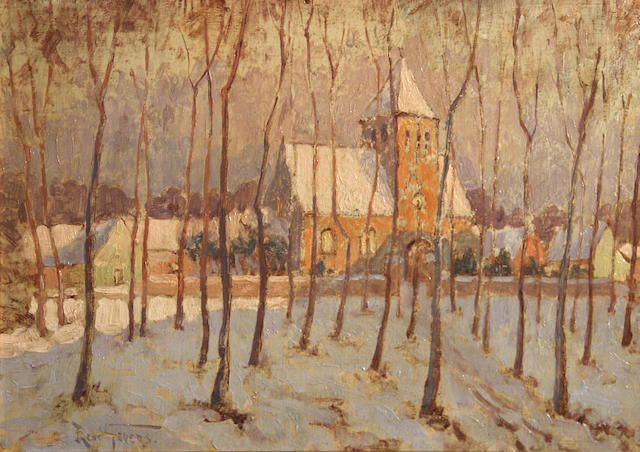 René Gevers (Belgian, 1869-1944) Church in the snow 10 3/4 x 15in