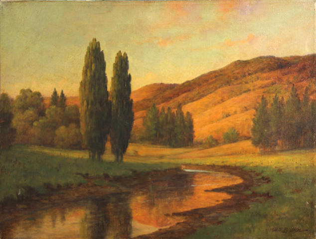William Barr (British/American, 1867-1933) In Marin County 18 1/4 x 24 1/4in unframed