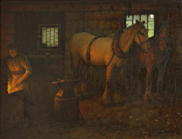 William Barr (British/American, 1867-1933) In the blacksmith's shop 14 1/4 x 19 1/4in