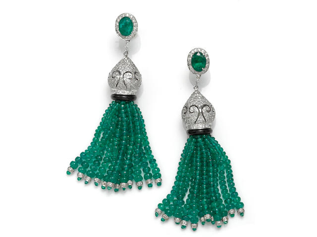A pair of emerald, diamond and black onyx tassel earrings