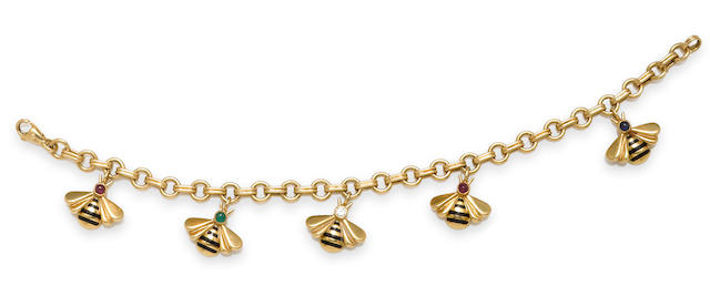 A gem-set and enamel bee charm bracelet, Cartier,